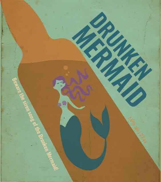 Picture of Drunken Mermaid Metal Sign