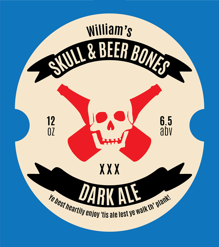 Picture of Skull & Beer Bones Metal Sign