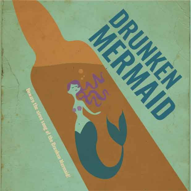 Picture of Drunken Mermaid Coaster, Single Sided