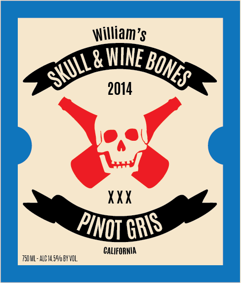 Picture of Skull & Beer Bones Wine Label